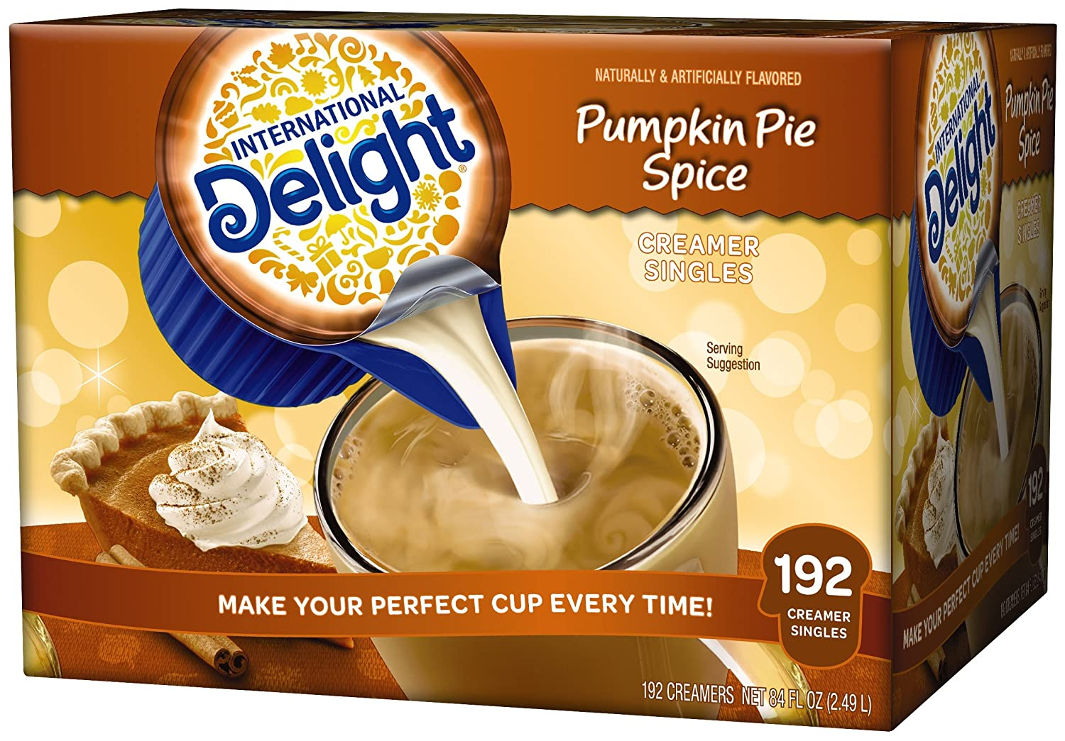 International Delight Pumpkin Pie Spice Coffee Creamer Pack of 192 Single Serve Cups 402521-002