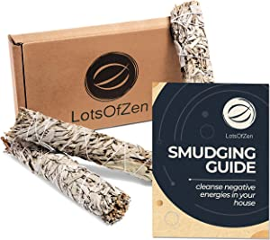 LotsOfZen 9 Inch Large Premium California White Sage Bundle (3 Pack) — Sage Smudge Sticks for Home Cleansing, Meditation, Yoga, Energy Healing — Grown and Packaged in The USA