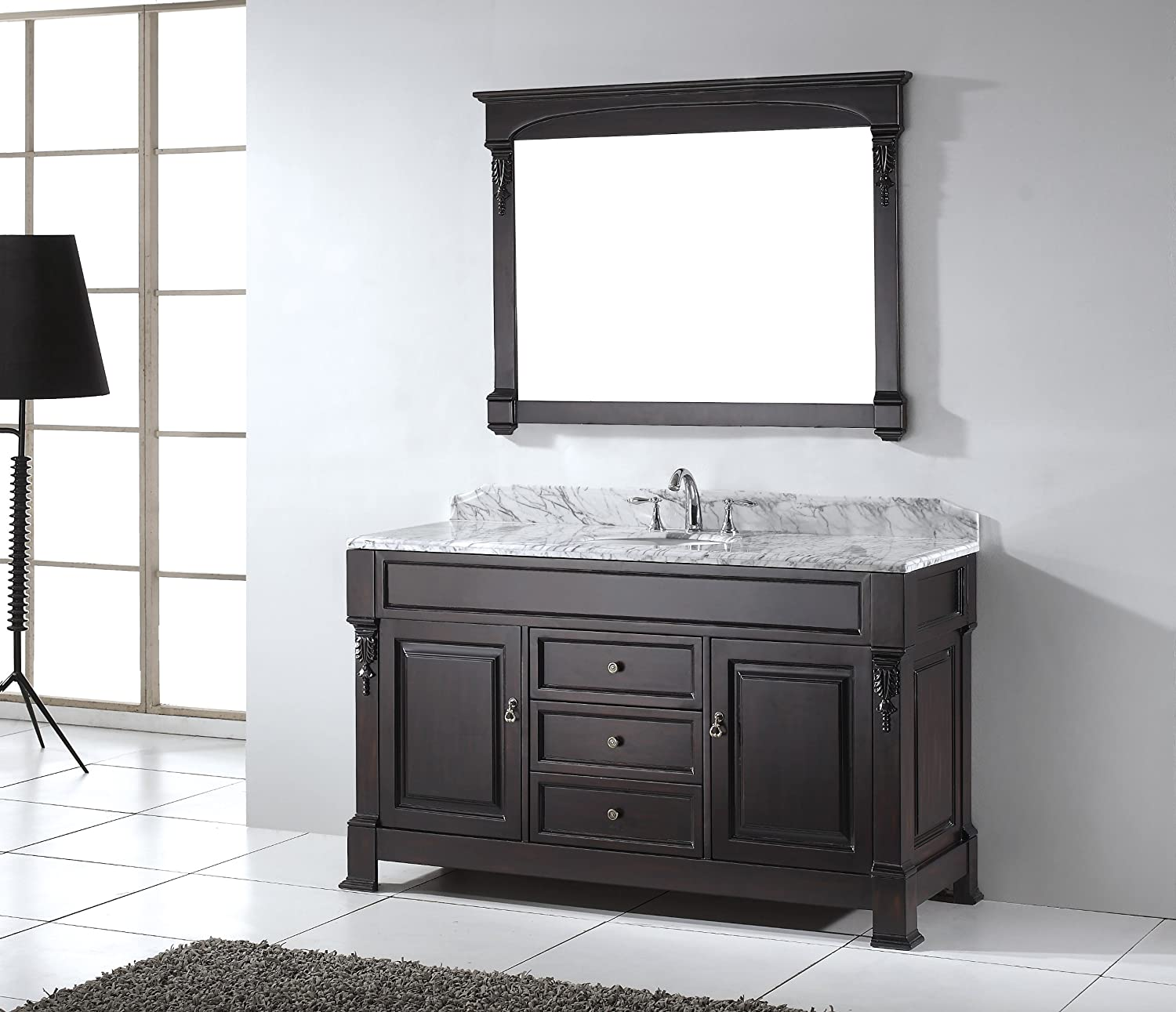 virtu usa huntshire 60inch single sink bathroom vanity with mirror and ceramic basin dark walnut finish amazoncom - 60 Bathroom Vanity
