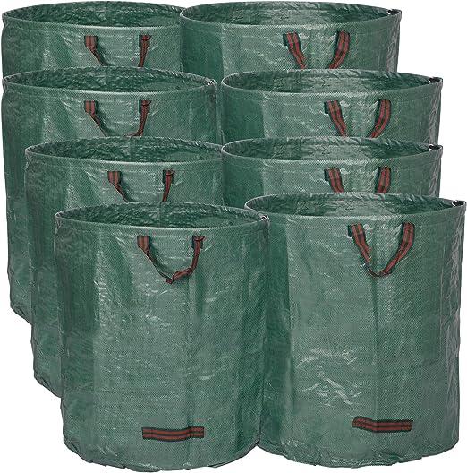WOLTU 8X 272L Bolsa de Jardín al Aire Libre Sacos para Desechos de Jardín 8uds. Bolsas de Basura de Jardín para Hojas PP 150 g/m² GZA1207gnQ8: Amazon.es: Hogar