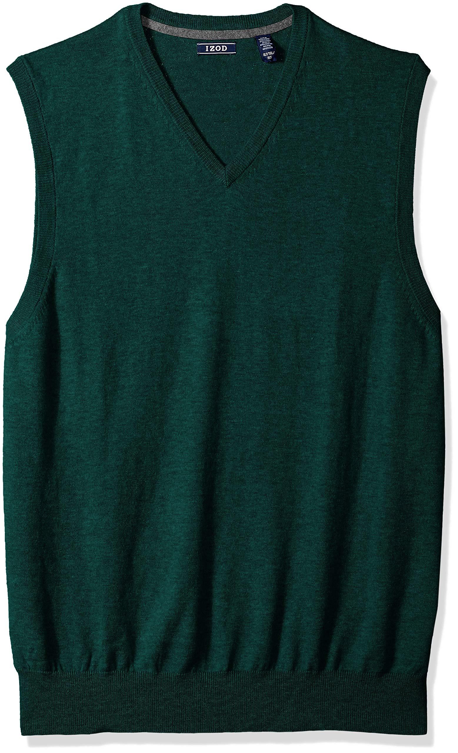 IZOD Men's Big and Tall Fine Gauge Solid Sweater Vest, Botanical Garden, 2X-Large