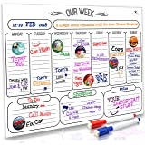 """HomeN'Stars Dry Erase Weekly Calendar/Weekly Whiteboard Calendar/Magnetic Weekly Calendar for Refrigerator 16"""" x 12"""" (40.6 x 30.5 cm) Bonus Free 10 Magnetic Icons and 2 Markers"""