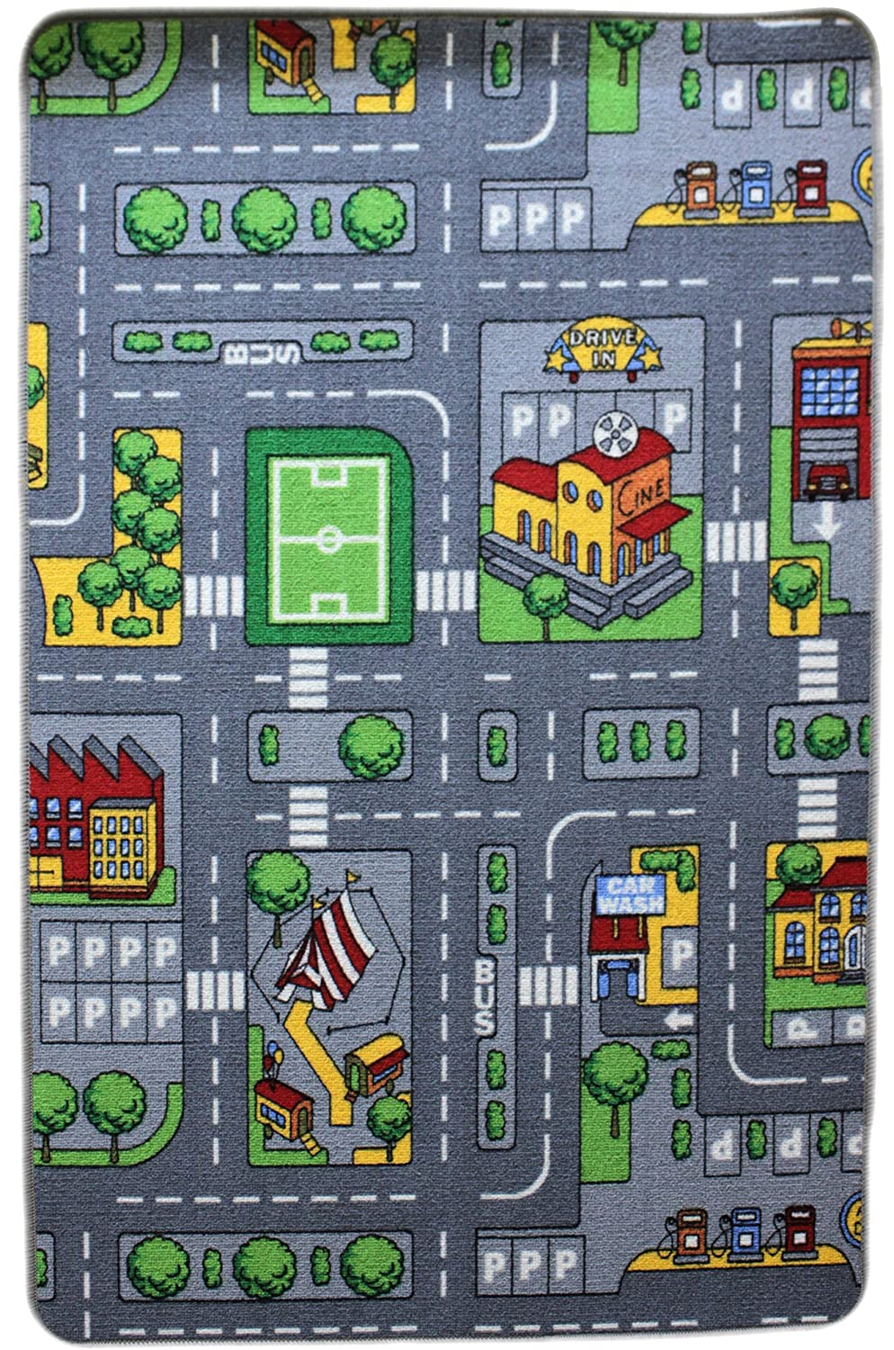 Reversible Childrens / Kids Farm / Car Road Rugs / Play Mat / 80x120cm or 2'.8''x4'
