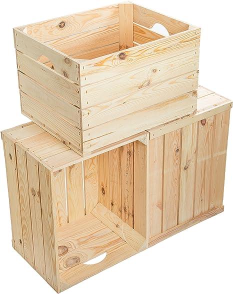 Juego de 3 Massive fruta (manzana caja Vino Caja de madera multiusos + + + 49 x 42 x 31 cm: Amazon.es: Hogar