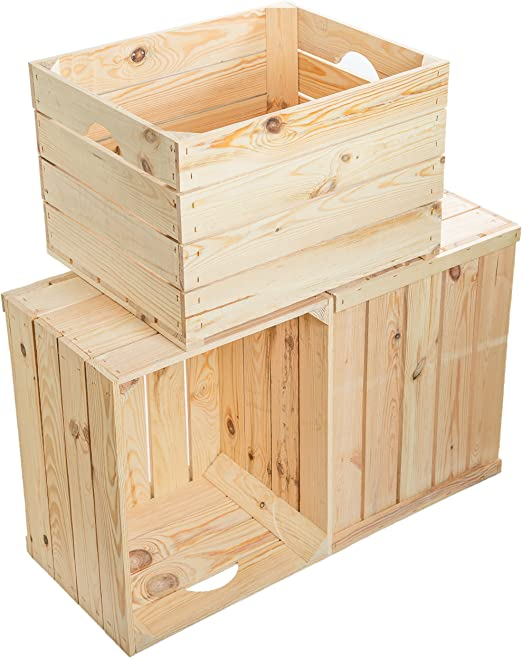 Juego de 3 Massive fruta (manzana caja Vino Caja de madera ...