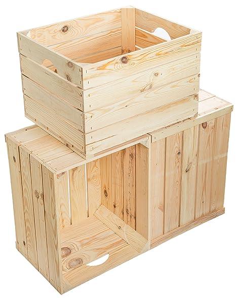 Juego de 3 Massive fruta (manzana caja Vino Caja de madera multiusos + + +
