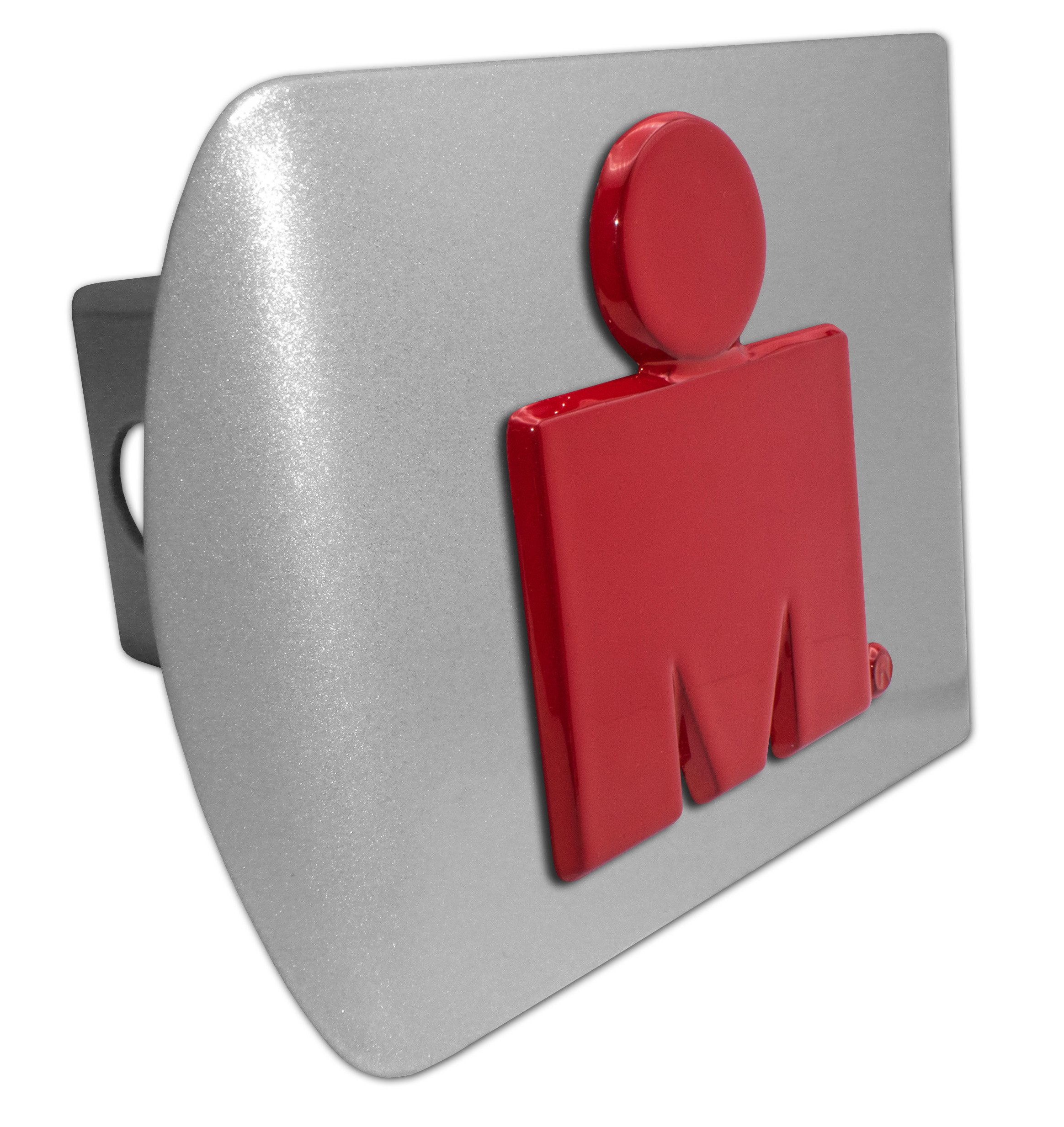 Elektroplate Ironman Triathlon Red and Brushed Chrome Metal Hitch Cover by Elektroplate