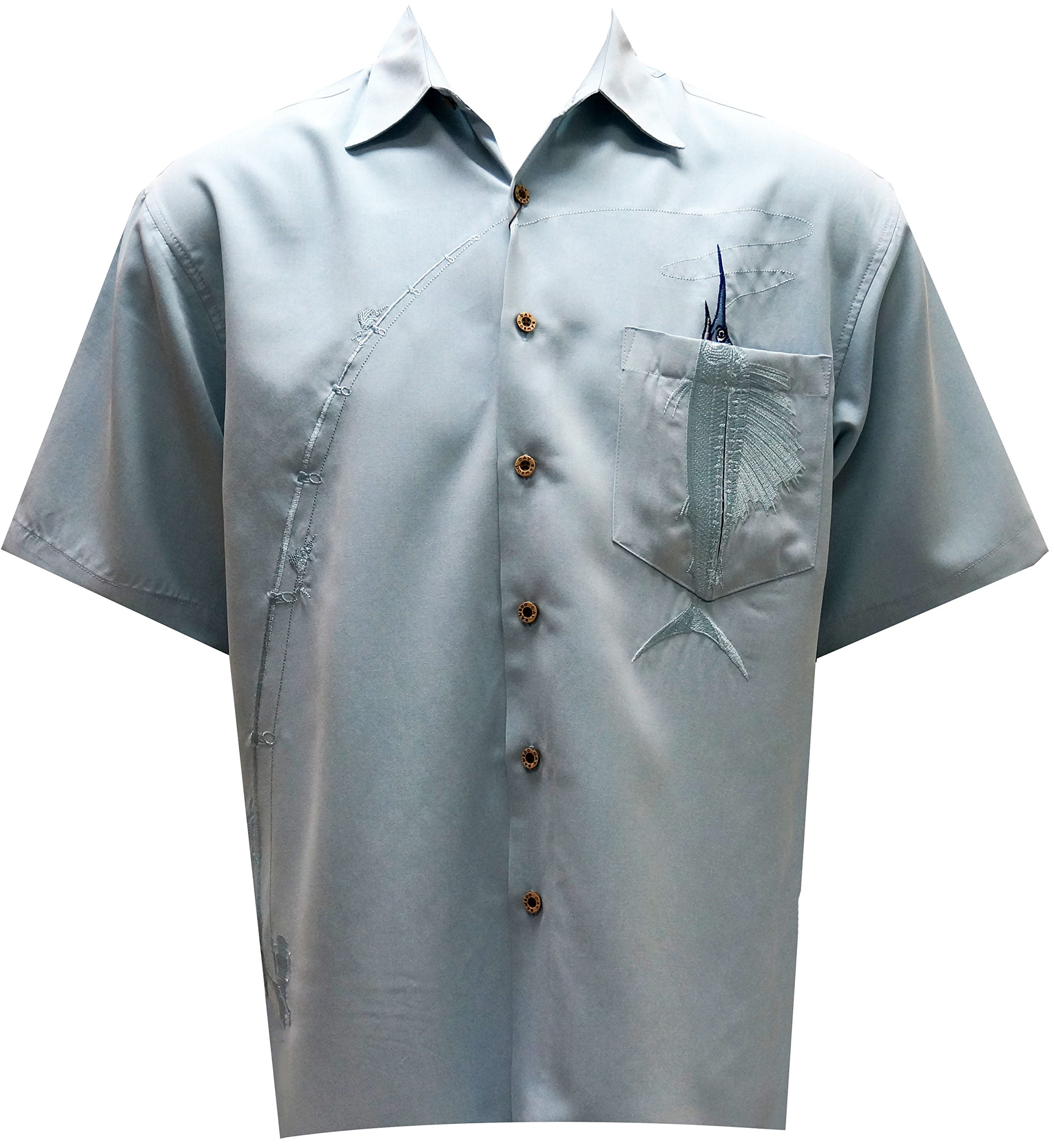 Bamboo Cay Shake The Hook, Men's Tropical Style, Embroidered Button Front Blue Shirt (X-Large)