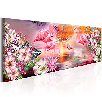 Murando   Bilder Flamingos 135x45 Cm   Vlies Leinwandbild   1 Teilig    Kunstdruck   Modern