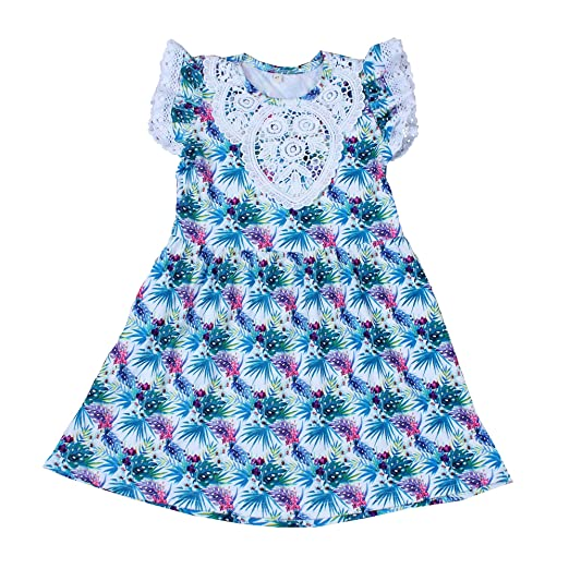 3da4380f398 Yawoo Haan Kids Girls Summer Leaf Print Lace Sleeve Party Boutique Dresses  3T