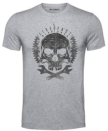 Wolkenbruch® T-Shirt Live Fast Ride Free Totenkopf Skull, grau Gr.5XL