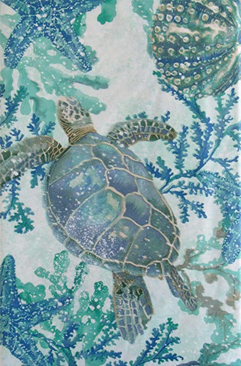 Summer Fun Sea Life Swimming Among Seaweed Vinyl Flannel Back Tablecloth 52 X 52 Square Everything Else