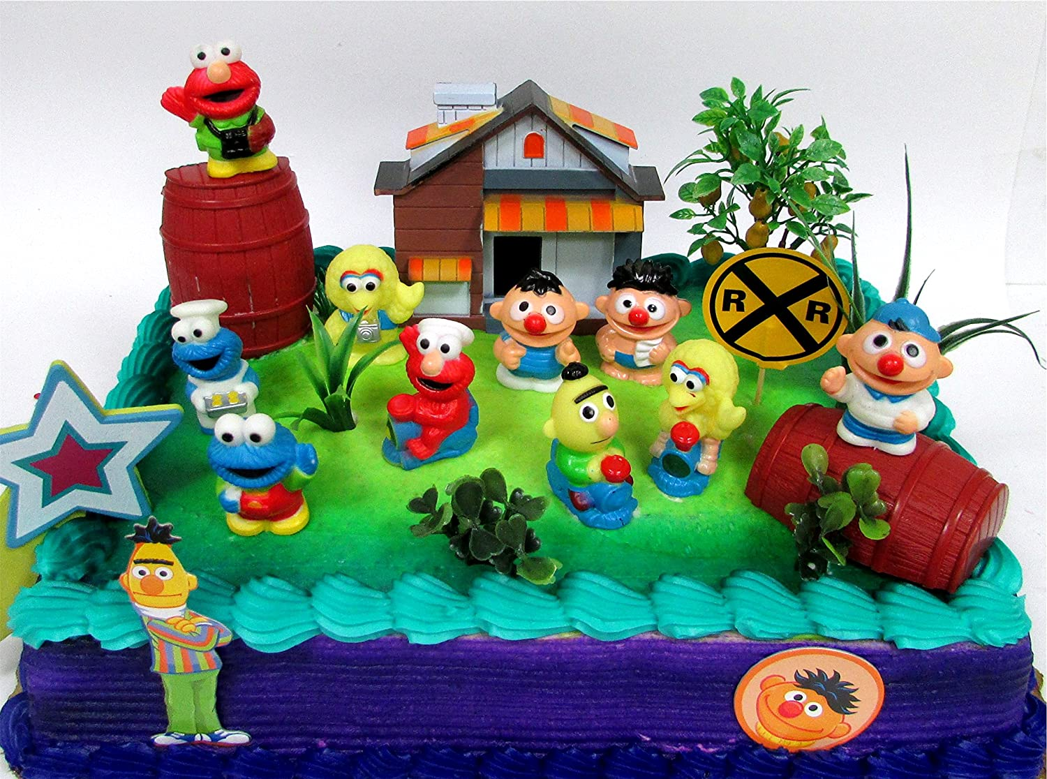 Sesame Street 16 Piece Birthday Cake Topper Featuring Elmo Bert Ernie Cookie Monster Big Bird And Themed Accessories