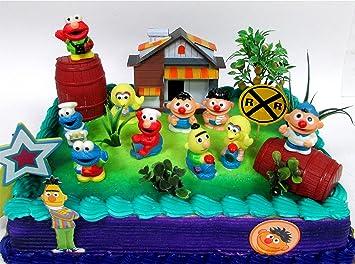 Amazoncom Sesame Street 16 Piece Birthday Cake Topper Featuring