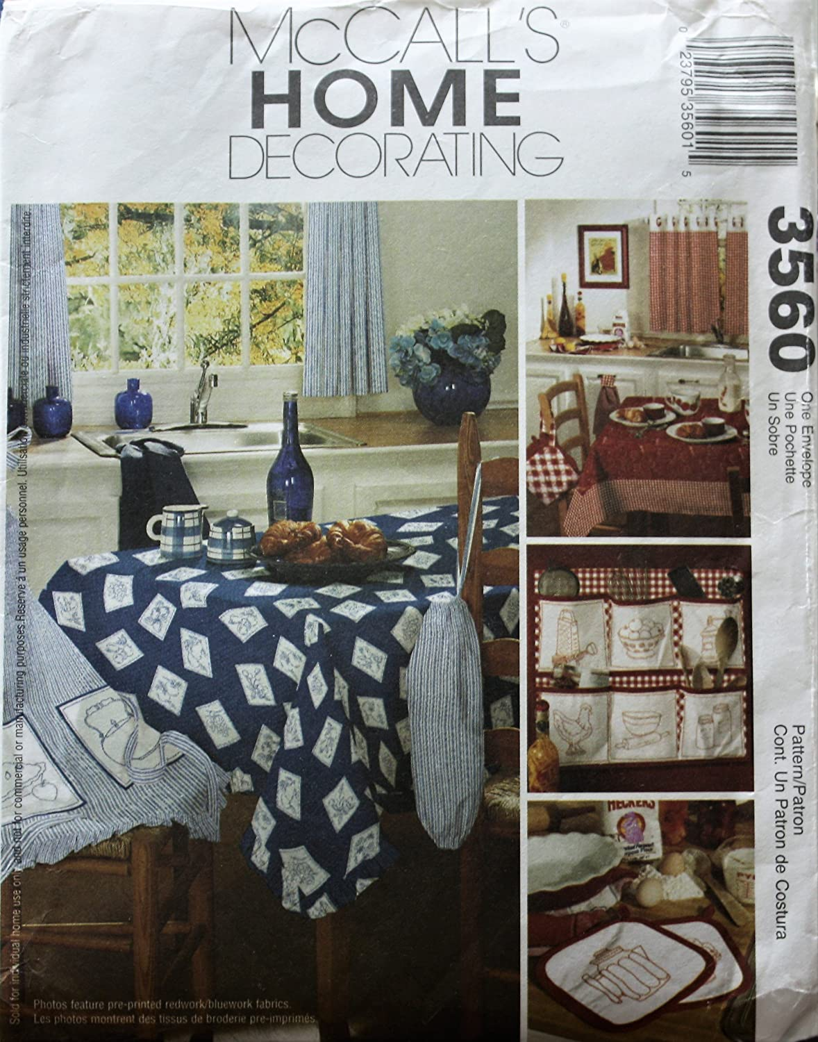 McCall's 3560 Home Decorating Sewing Pattern Curtains Towel Potholders Apron