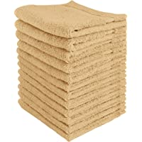 Utopia Towels - Premium Washcloths Set (12 x 12 Inches, Beige) - 600 GSM 100% Cotton Flannel Face Cloths, Highly Absorbent and Soft Feel Fingertip Towels (12-Pack)