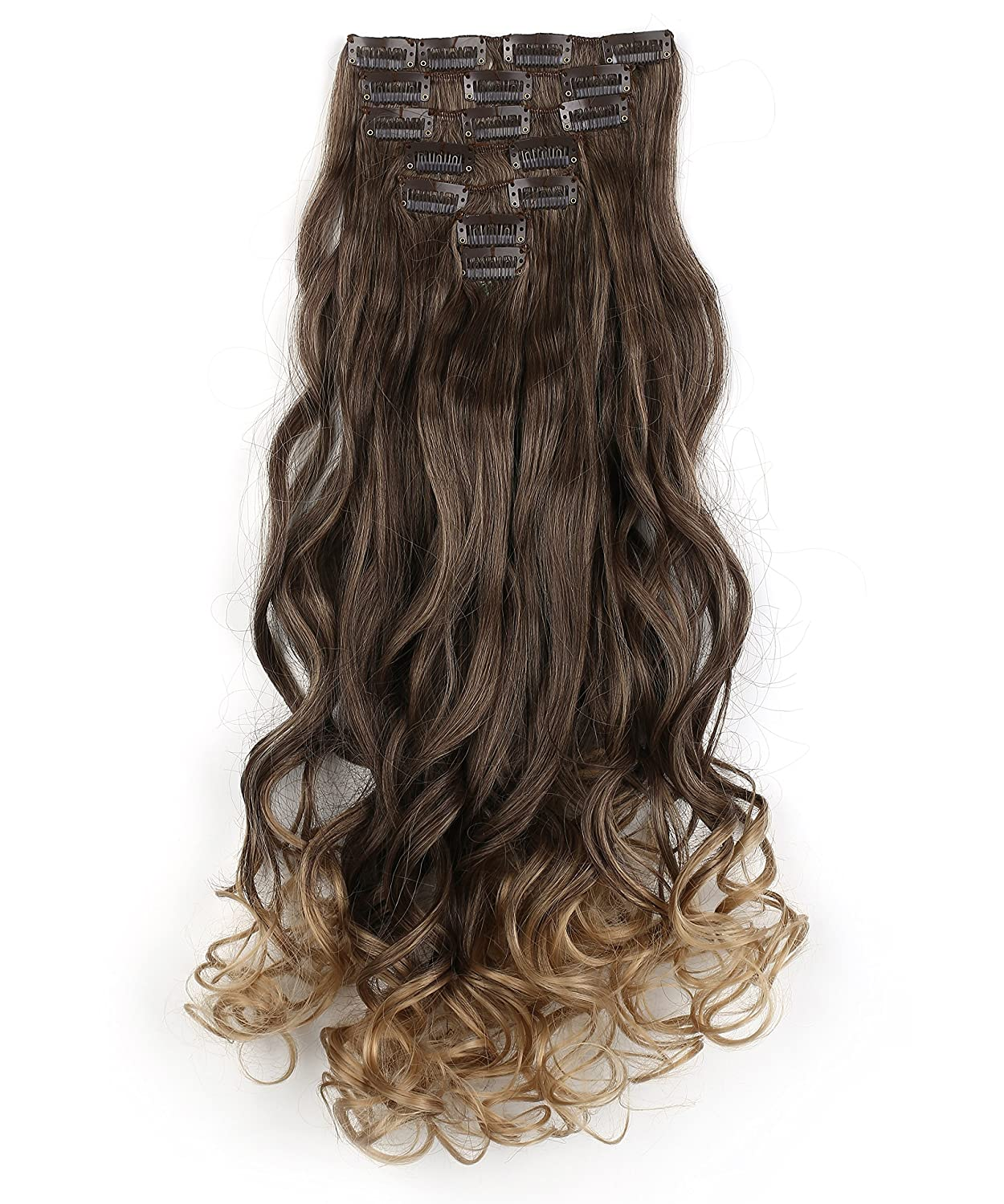 """Onedor 20"""" Curly Full Head Clip in Synthetic Hair Extensions 7pcs 140g (6B10BT25# - Brown to Dirty Blonde Ombre)"""