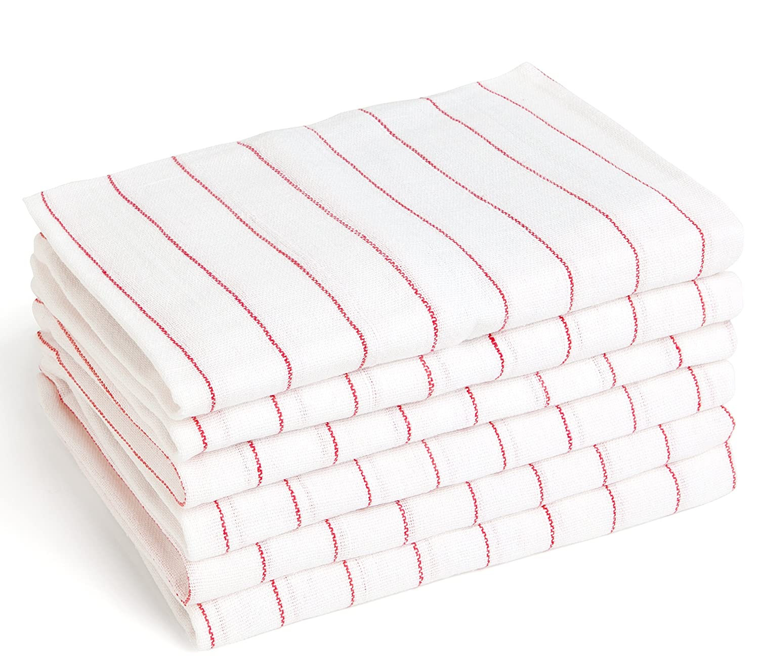 13 Red and White Stripe Cotton Towels