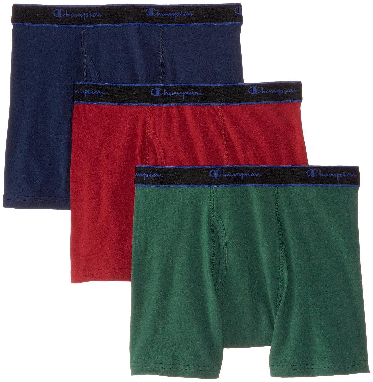 Champion Men's 3 Pack Performance Cotton Short Leg Boxer Briefs Champion Men' s Underwear CXSBBG