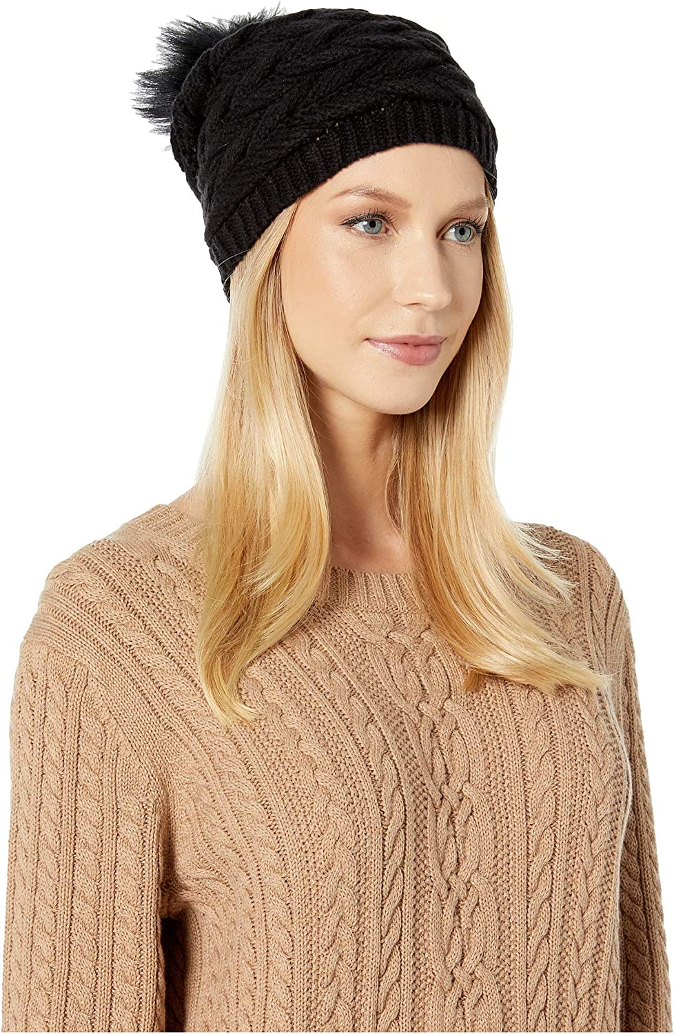 UGG Cable Hat with Pom Black One Size