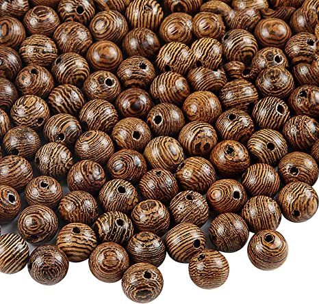 large hole 15mm wooden macrame beads medium dark brown stain
