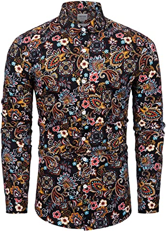 fohemr Camisa para Hombre de Corte clásico 100% algodón con Estampado Floral de Paisley: Amazon.es: Ropa y accesorios