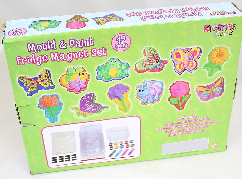 Carousel Kreative enfants Bumper Moule et peinture Aimant de r/éfrig/érateur Ensemble/ /faites vos propres Paillettes Jardin Papillon et insectes Aimants de r/éfrig/érateur