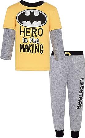 Warner Bros. Conjunto de Camisa de Manga Larga de Lana de Batman y Pantalones de chándal para bebé-niños: Amazon.es: Ropa y accesorios