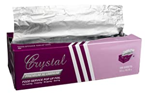 "Crystalware Premium Aluminum Foil, Pre-cut Pop Up Sheets, 9"" X 10 3/4"" (500 Sheets)"