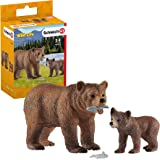 Schleich Wild Life Grizzly Bear Mother with Cub 4-Piece Educational Playset for Kids Ages 3-8