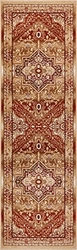 Well Woven Tribal Elegance Red Modern Persian Medallion 2×7 2 3 x 7 3 Runner Area Rug Vintage Faded Oriental Erased Carpet