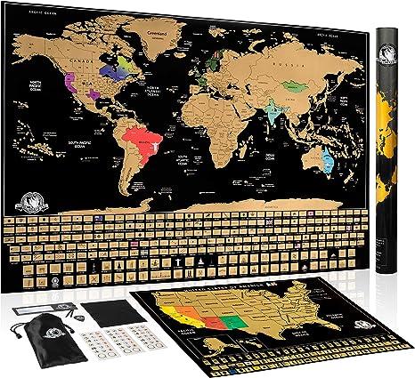 Póster de la marca Scratch Off World con banderas de los países y marcas, diseño de mapa, con texto en inglés