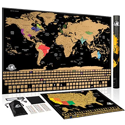 Amazon Com Scratch Off World Map Large Travel Wall Poster Maps