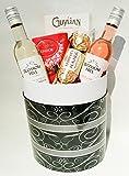 Luxury Chocolates & Wine Gift Box - Finest Lindt Lindor, Ferrero Rocher, Guylian Mini's With Blossom Hill White + Rose