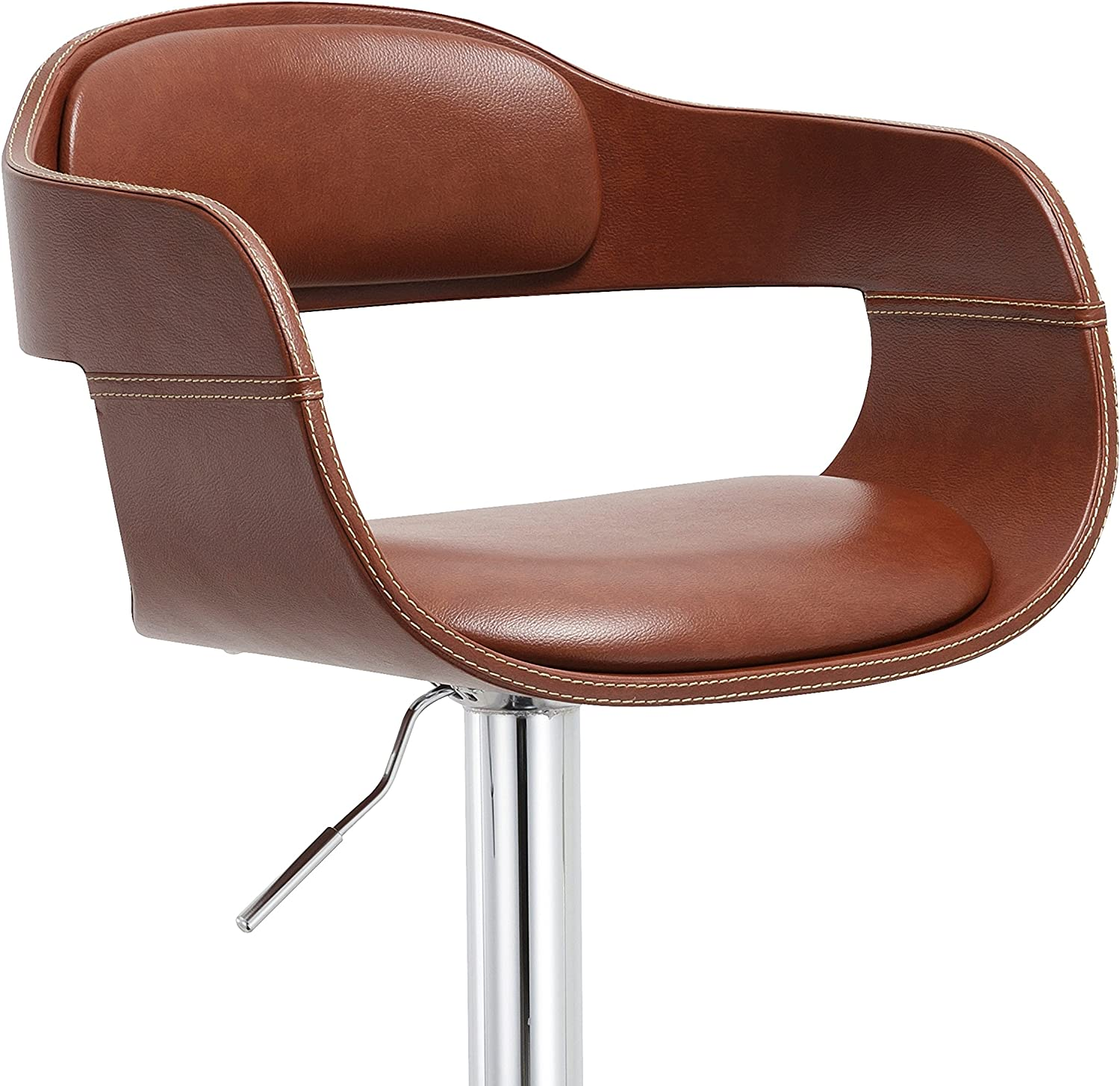 AC Pacific Modern Style Faux Leather Upholstered Chrome Metal Base Swivel Mechanism Kitchen Dining Barstool, Brown