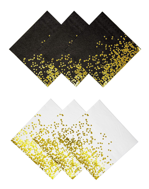 パーティーシックホワイトブラックとゴールドの水玉使い捨てナプキン ゴールド箔 ディナーナプキン 60枚パック パーティー ウェディング エレガントな装飾 ホリデー 記念日 誕生日用品 独身お別れベビーシャワー   B07TJBRRWP