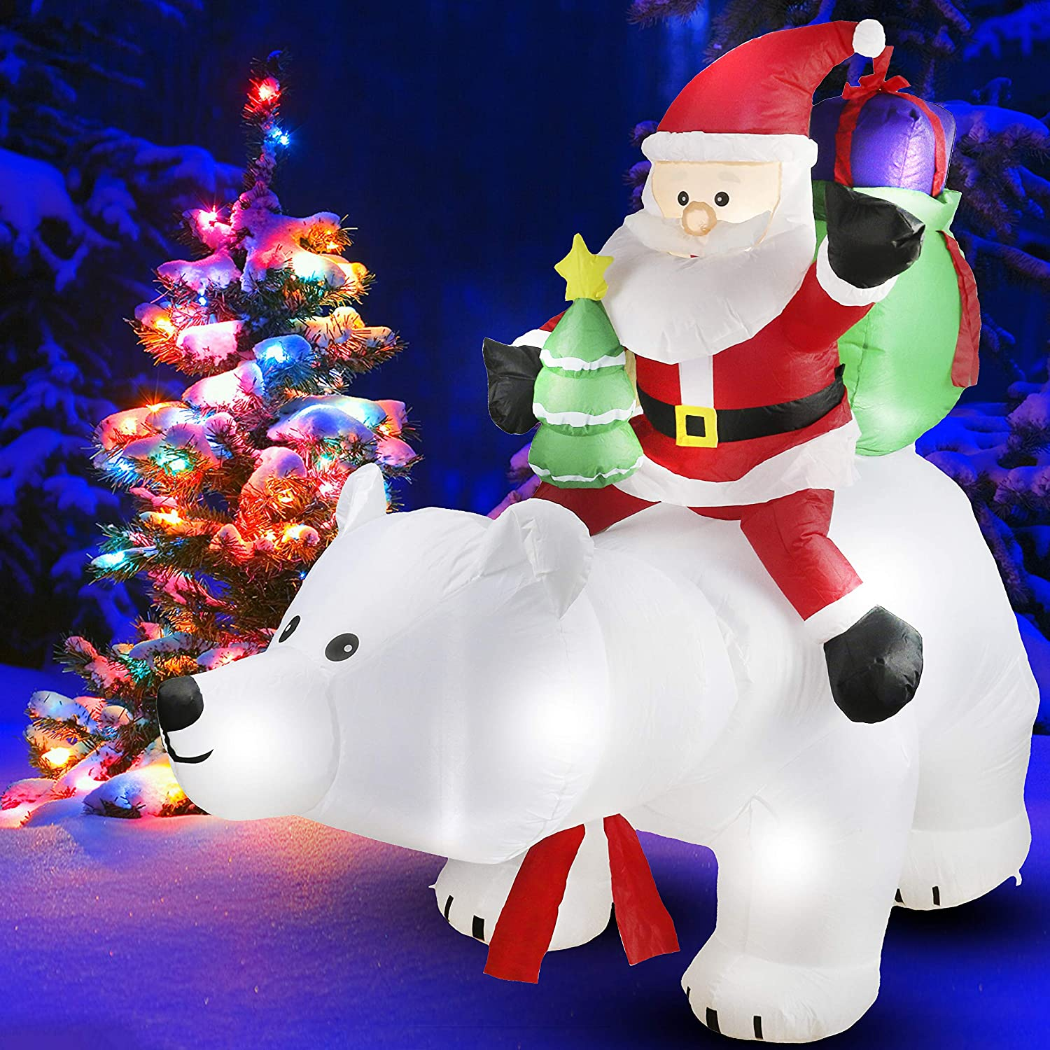 Athoinsu 6.7ft Lighted Christmas Inflatable Santa Claus on The Auto Shaking Polar Bear Self-inflate Xmas Air Blown Holiday Party Home Yard Garden Decoration