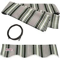 ALEKO FAB12X10MSTRGR58 Retractable Awning Fabric Replacement 3.5 x 3 Meters Multi-Stripe Green