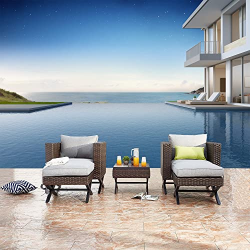 Festival Depot 5 Pieces Patio Outdoor Conversation Brown Wicker Rattan Chairs Cushions Ottomans Set Coffee Square Table Classic Metal Frame Furniture Garden Bistro Seating Grey Thick Soft Cushion