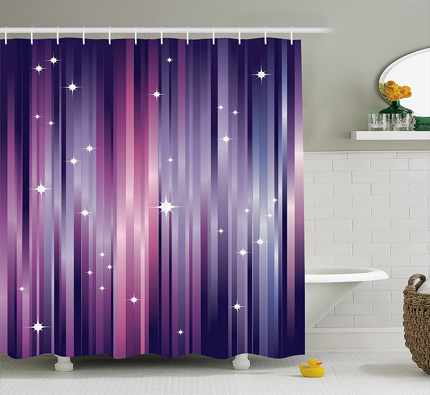 Amazon.com: Ambesonne Eggplant Shower Curtain, Abstract Colourful ...