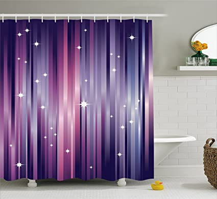 Ambesonne Eggplant Shower Curtain, Abstract Colourful Beams Backdrop With  White Stars Space Inspired Purple Lines