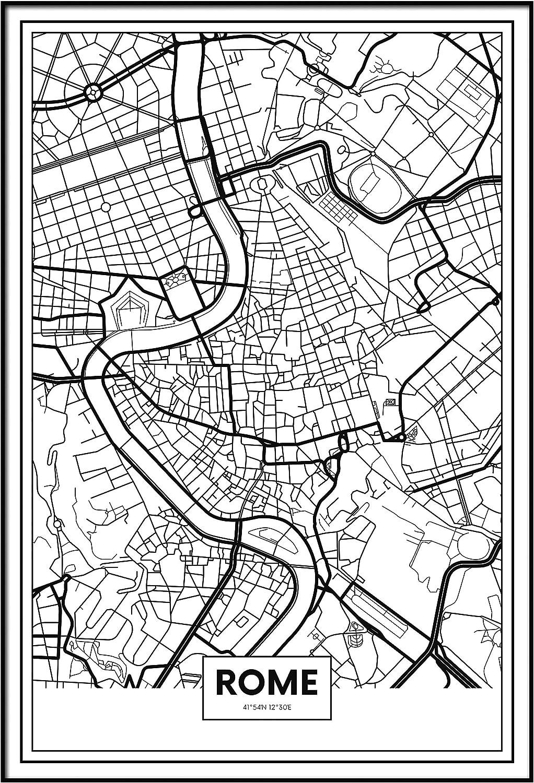 Panorama Póster Mapa de Roma 21x30cm - Impreso en Papel 250gr - Póster Pared - Cuadros Decoración Salón - Cuadros para Dormitorio - Póster Decorativos - Cuadros Modernos: Amazon.es: Hogar