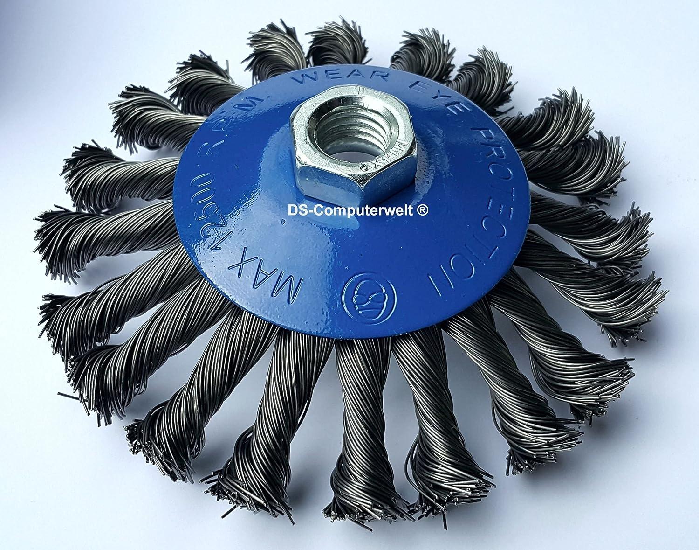 Bevel Brush Diameter 125 mm Gezopfte Abrasive Brush Wire Brush M14 x 2 DS-Computerwelt®