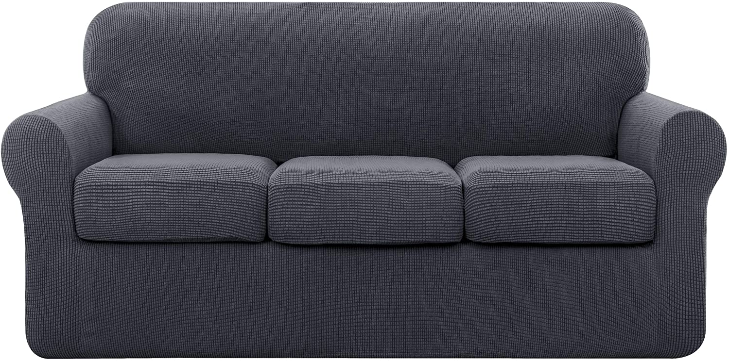 subrtex Sofa Cover High Stretch Couch Slipcover with Separate Cushion Couch Cover Soft Loveseat Slipcover Furniture Protector Machine Washable(Gray,Large)