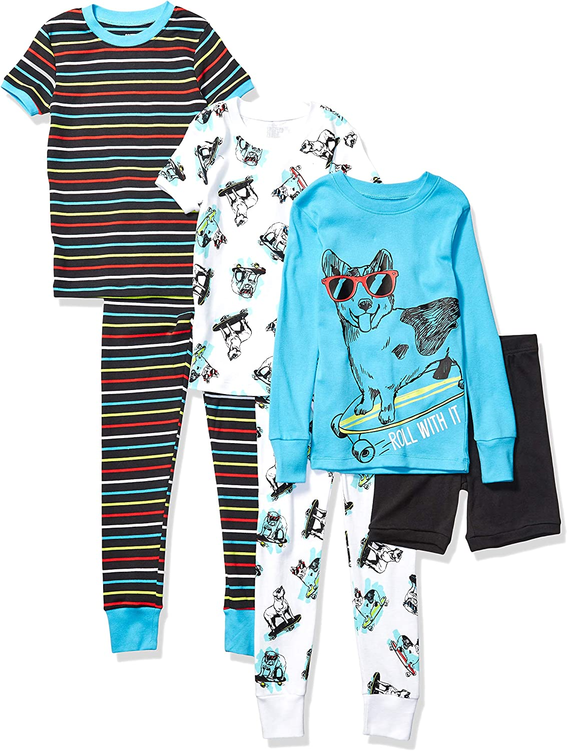 Marchio Amazon - Spotted Zebra 6-Piece Snug-Fit Cotton Pajama Set Unisex-Bambini