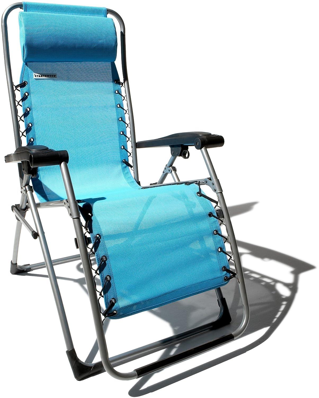 Amazon Strathwood Basics Anti Gravity Adjustable Recliner Chair Caribbean Blue Patio Lounge Chairs Garden Outdoor