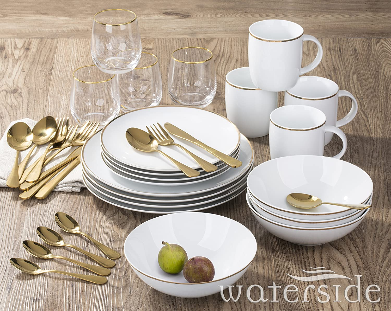 36 Piece New Home Gold Dinner Set Waterside Fine China