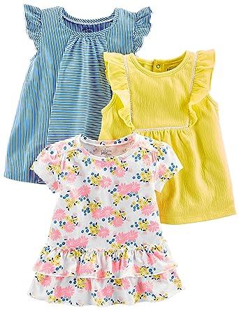 64dde955eeda3 Simple Joys by Carter's Baby Girls' Toddler 3-Pack Short Sleeve Tops, Blue