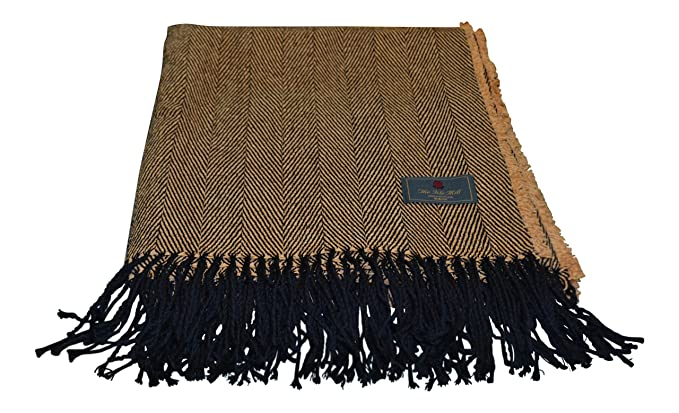 Extra Large Chenille Throw Camel//Black