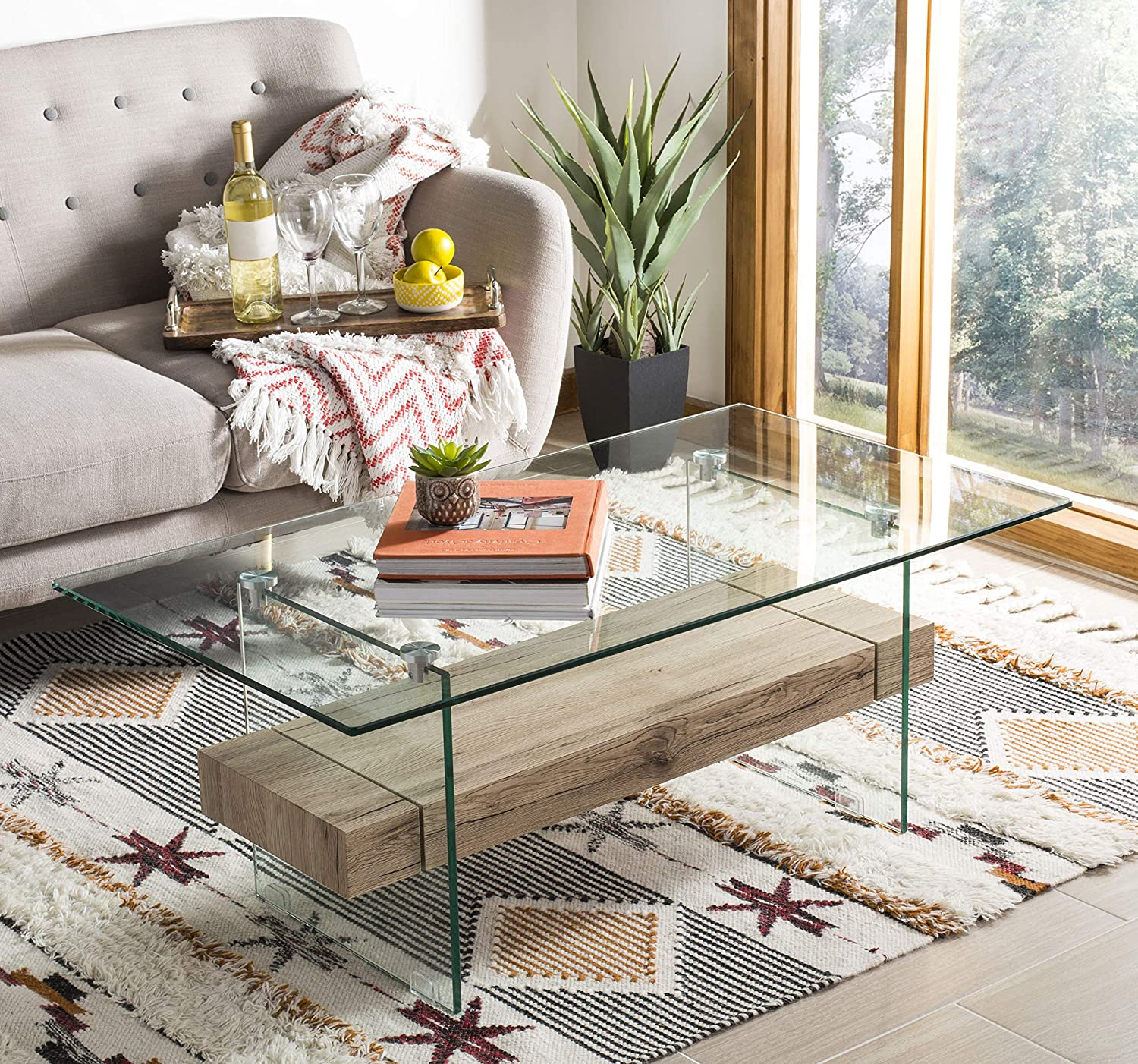 Safavieh COF7004A Home Collection Kayley Natural Rectangular Modern Glass Coffee Table,